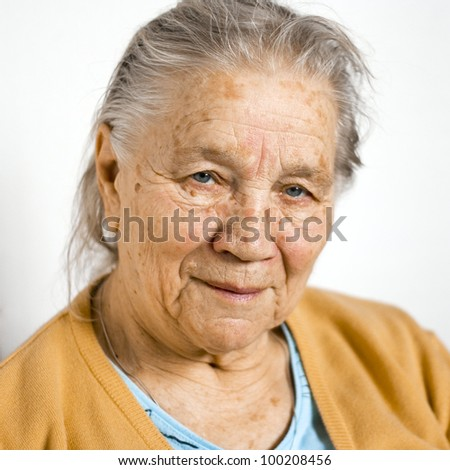 Close portrait of smiling senior woman