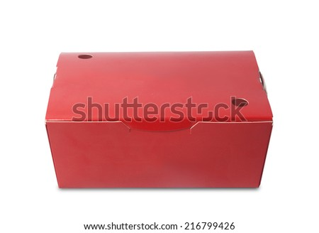 close red paper snack box on white background  - stock photo