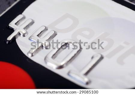 Close shoot of debit card - stock photo