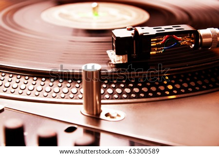Close shot of analog audio equipment, useful for a professional DJ - stock photo