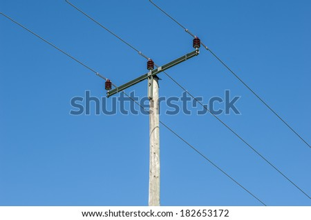 Close to a typical telephone mast in the countryside of Bavaria