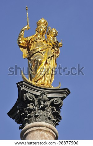 "Close to the historic golden ""Maria"" of Munich in Bavaria"