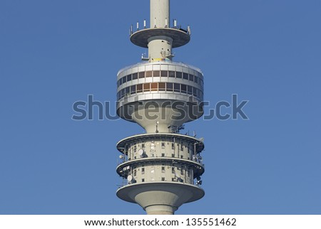 Close to the television tower of Munich in Bavaria