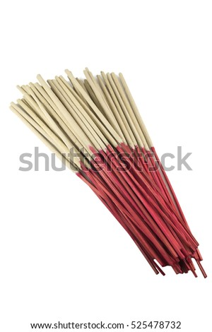 Close-up a bunch of incense sticks isolated  with clipping path