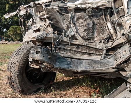 Close up accident car crash. - stock photo