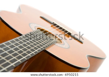Close-up acoustic guitar. Isolate on white. - stock photo