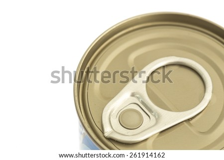 Close up aluminum canned food isolated on white background