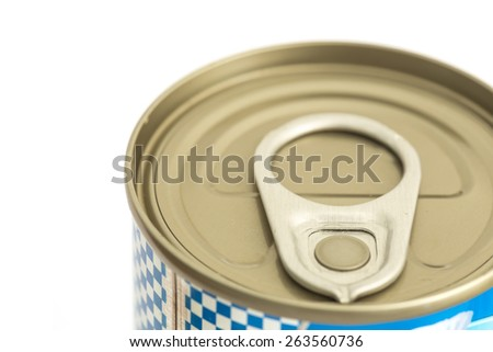 Close up aluminum canned food isolated on white background - stock photo