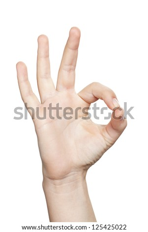 Close up and cropped image of a woman's hand on an ok gesture against white background