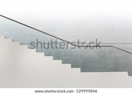 Close up and details of railing and stairs of a modern building