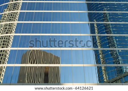Close up architecture abstracts from office buildings in downtown Houston. - stock photo