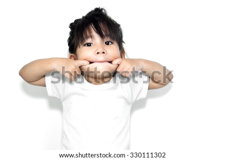 close up asian girl playing her mouth in funny action - stock photo