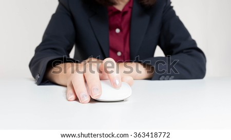 close up Asian women using tablet on white background - stock photo