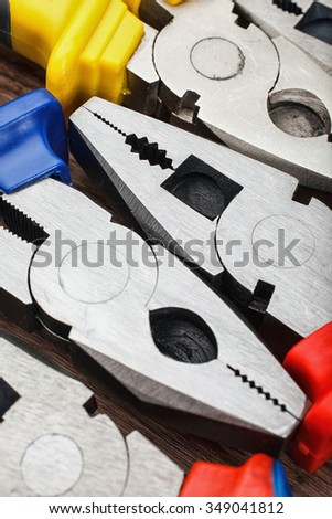 Close up Assorted Hand Work Tool Pliers - stock photo