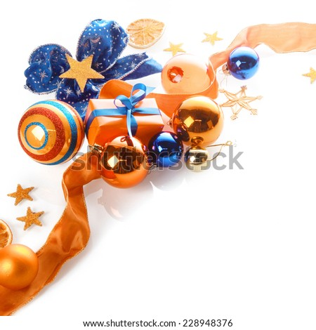 Close up Attractive Blue and Orange Christmas Decorations Isolated on White Background - stock photo