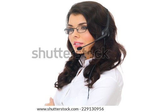 Close up Attractive Young Customer Support Representative Woman with Eyeglass and Headset Isolated on White Background - stock photo