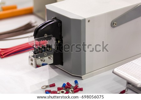 Close Automatic Cable Measuring Cutting Stripping Stock Photo ...