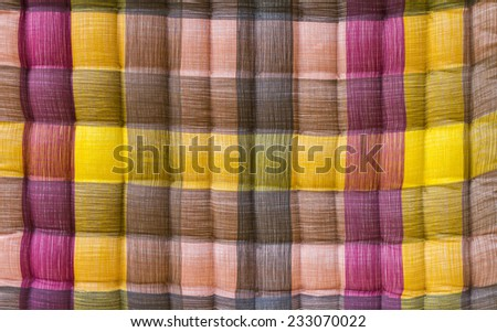Close up background Bedding Plaid color beautifully relaxing. - stock photo