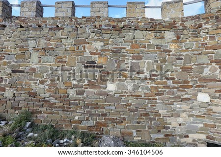 close-up background texture of stone wall from an old brick in natural light