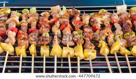 Close up barbecue on a grilling pan. - stock photo