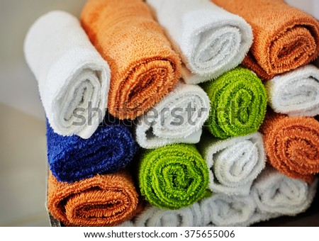close-up basket of pure towels - stock photo