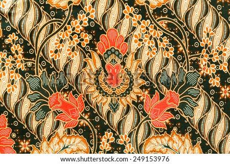 Close up batik fabric - stock photo