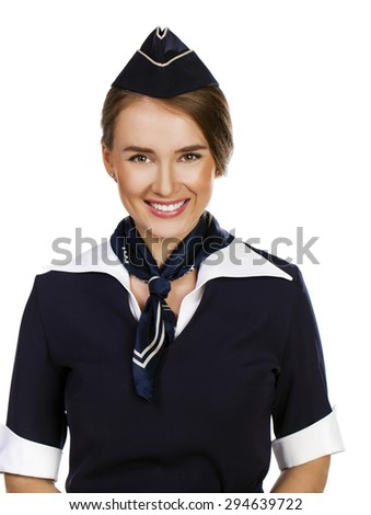 Close up, beautiful dark haired young business woman dressed in a dark blue suit with a blue scarf smiling, isolated on white background - stock photo