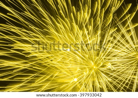 Close up beautiful fireworks in the evening sky , Sparkler close up, Holiday concept - stock photo