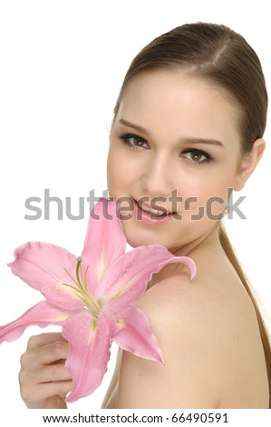 Close-up beautiful young fashion model with lily flower