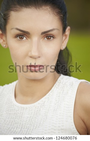 Close up beauty  portrait brunet woman at the outdoor - stock photo