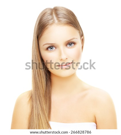 Close-up, beauty portrait of a smiling, beautiful blonde girl - stock photo
