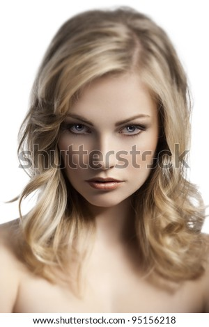 close up beauty portrait of a young and cute blond lady with hair style over white - stock photo