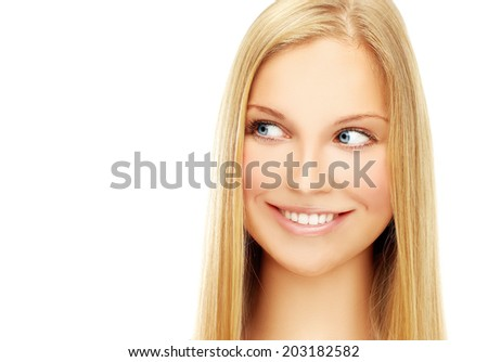 Close-up, beauty portrait of a young blonde woman with adorable smile.White background - stock photo