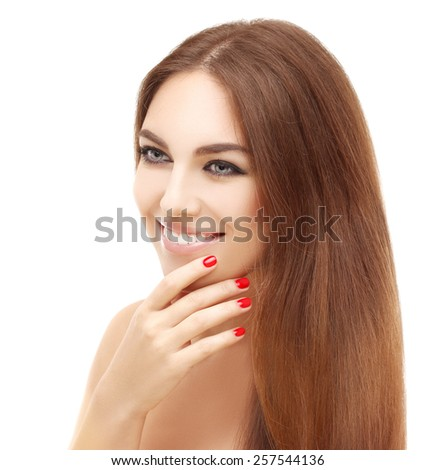 Close-up, beauty portrait of a young brunette woman with beautiful smile - stock photo