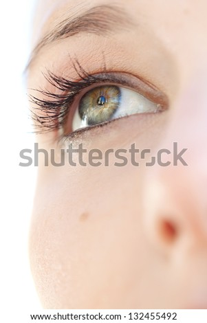 Close up beauty portrait of a young caucasian healthy woman eye looking up with lush and long eyelashes. - stock photo