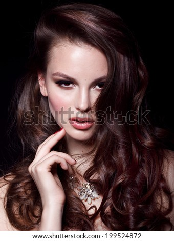 Close-up beauty portrait of beautiful model with bright make-up and manicure Perfect for magazine cover - stock photo