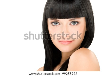 close-up beauty portrait of young caucasian brunette with long hair