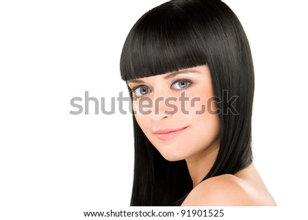 close-up beauty portrait of young caucasian woman with perfect haircut - stock photo