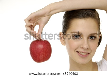 Close up beauty woman with red apple. Perfect skin!