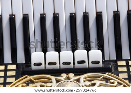 close-up black and white keys of the accordion in the sunlight - stock photo