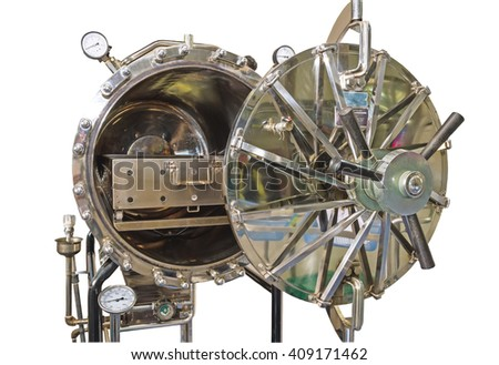 Close up black autoclave, hole of autoclave,sterilization machine for hospital isolated on white background.Saved with clipping path. - stock photo