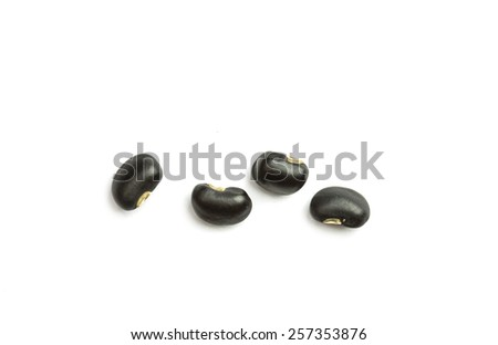 Close up black beans isolated on white background - stock photo