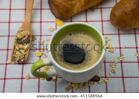 Close up  black coffee cup on table