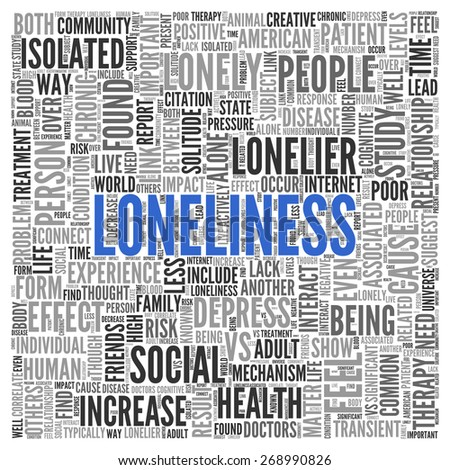 Close up Blue LONELINESS Text at the Center of Word Tag Cloud on White Background. - stock photo