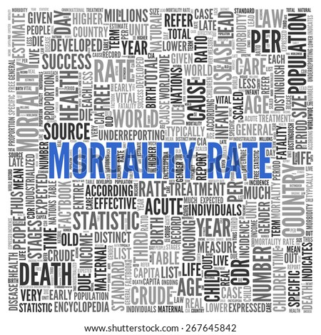 Close up Blue MORTALITY RATE Text at the Center of Word Tag Cloud on White Background. - stock photo