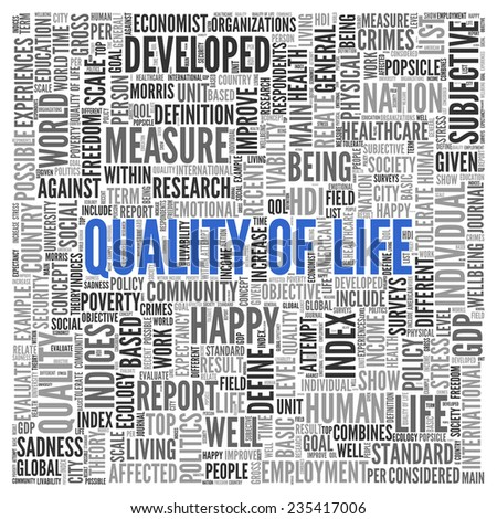 Close up Blue QUALITY OF LIFE Text at the Center of Word Tag Cloud on White Background. - stock photo