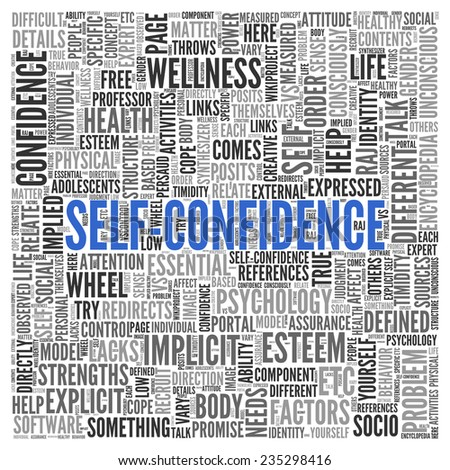 Close up Blue SELF CONFIDENCE Text at the Center of Word Tag Cloud on White Background.