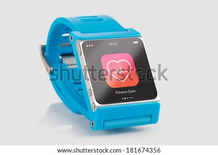 Close up blue smart watch with fitness app icon on the screen  - stock photo