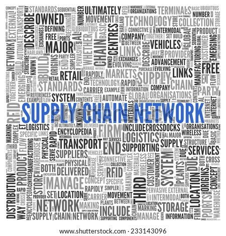 Close up Blue SUPPLY CHAIN NETWORK Text at the Center of Word Tag Cloud on White Background. - stock photo