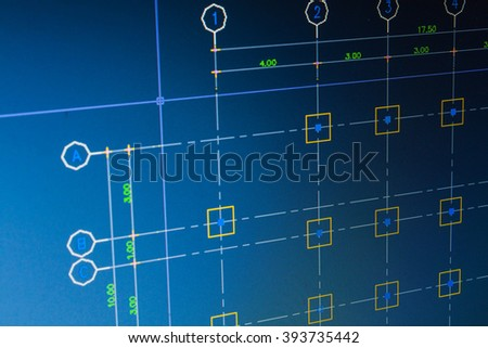 close up blueprint Architect Construction with computer Project Sketch Concept background - stock photo